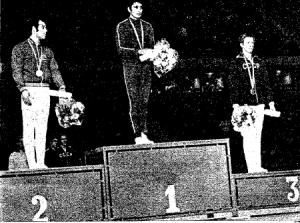 José Ginés, medalla del plata en suelo en el Europeo de Madrid, 1971.