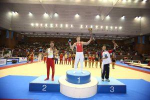 Podio de gimnasia artística masculina. Foto: Federació Catalana de Gimnàstica